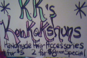 This is the name of her store: KK's Konkokshuns...pretty nifty, huh?