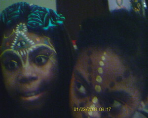 My oldest Sister and I...gettin' our 3rd eye and chakra dots on...