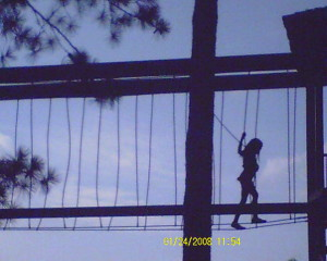 I went up 36 feet in the air to climb arund on obstacles at Stone Mountain Park...scary but worth it!!....